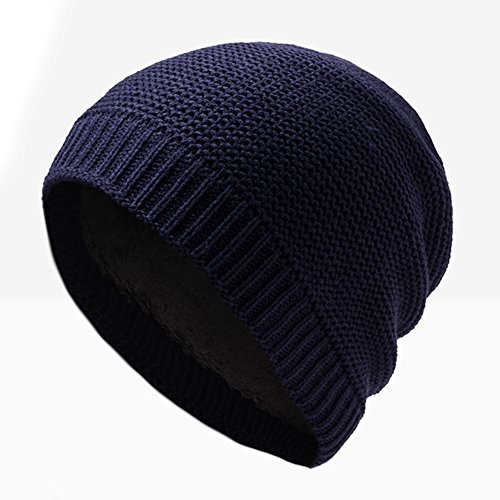 EDTara Mens Beanie Hat Soft Winter Warm Knitting Hats Beanie Knit Cap Dark Blue (Ralph Lauren Baby Boy Beanie)