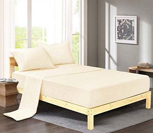 Luxury Comfort 2800 Series Wrinkle & Fade Resistant Egyptian Cotton Quality Ultra Soft 4-Piece Bed Sheet Set (Queen, Ivory) (90 What Is Gsm Microfiber)