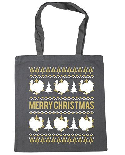HippoWarehouse feliz Turquía Navidad Tote Compras Bolsa de playa 42cm x38cm, 10litros gris grafito