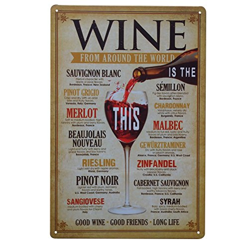 WINOMO Vintage Iron Painting Decorative Signs Tin Metal Car Wall Decor For Wall Home Bar Coffee Shop Decoration (WINE))