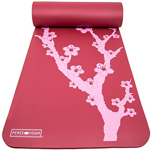 """Peace Yoga Extra Thick Exercise Mat Red Cherry ½"""" Inch"""