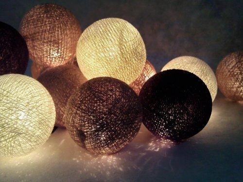 Sateen Oxford (Christmas or Patio Party Light String Thai Vintage Handmade Asian Oriental Handcraft Art Chocolate Tone Mix Yarn Cotton Ball Lamp (20/set) / Decor Accessory / Garden Decorative / Decor Modern Design from Thailand)