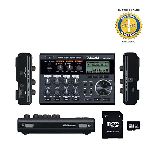 6-Track Digital Pocketstudio with EV MUSIC 32gb SD Card and 1 Year Free Extended Warranty - Tascam DP-006
