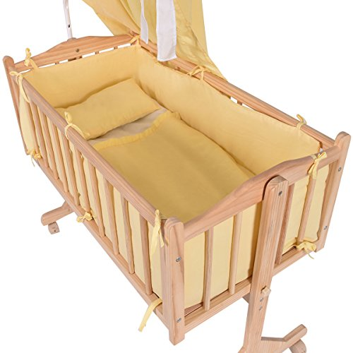SKEMiDEX---Wood Baby Cradle Rocking Crib Bassinet Bed Sleeper Born Portable Nursery Yellow This Wooden Baby Cradle comes complete with everything your baby needs for sleep by SKEMiDEX (Image #1)