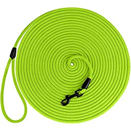 BronzeDog Check Cord 30ft Long Dog Training Leash Tracking Line Heavy Duty Rope Lead for Dogs Puppy on Wooden Winder