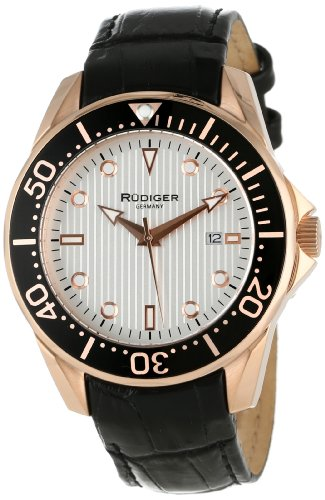 Rudiger Men s R2000-09-001L Chemnitz Rose Gold IP Case Silver Luminous Dial Watch