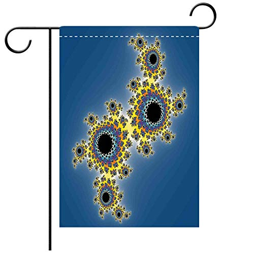 Double Sided Premium Garden Flag Fractal Floral Spiral Unusual Modern Pattern with Rotary Lined Artistic Display Yellow Violet Blue Decorative Deck, patio, Porch, Balcony Backyard, Garden or Lawn