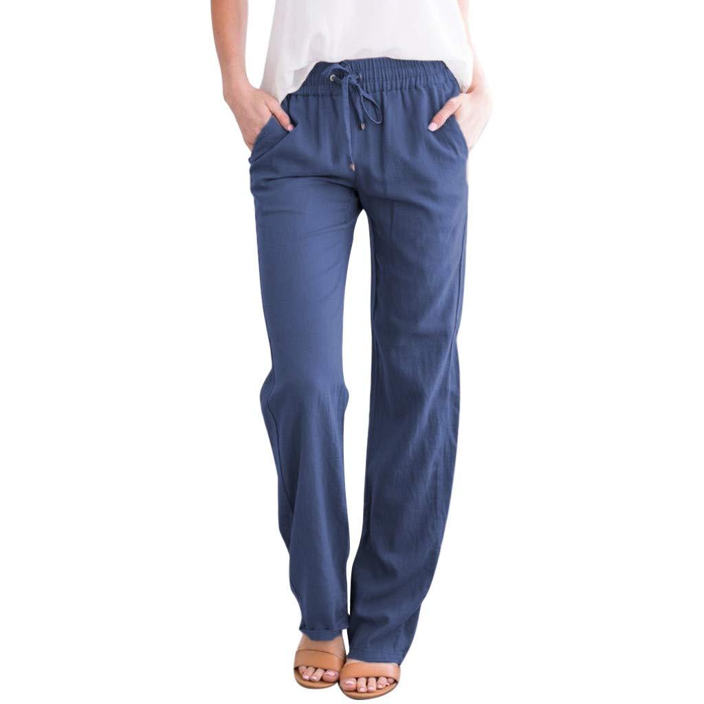 Luckycat Pantalones De Lino para Mujer Pantalones Informales ...