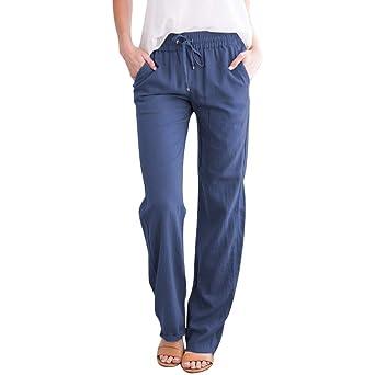 Luckycat Pantalones De Lino para Mujer Pantalones Informales de ...