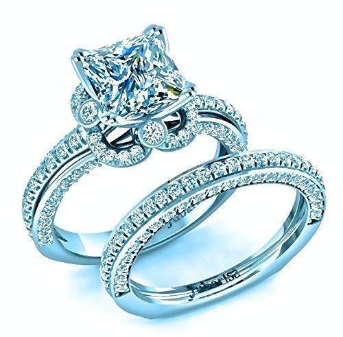 2.55 Tcw Princess Cut Diamond Engagement Ring & Wedding Band Bridal Sets Square Bezel Halo 14K Gold Custom Classic Jubariss Fine Jewelry ()