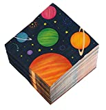Cocktail Napkins - 150-Pack Luncheon Napkins, Disposable Paper Napkins Kids Birthday Party Supplies, 3-Ply, Outer Space Design, Unfolded 13 x 13 Inches, Folded 6.5 x 6.5 Inches