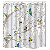 NYMB Lovely Birds in Tree Shower Curtains, Polyester Fabric Waterproof Bath Curtain, 69X70