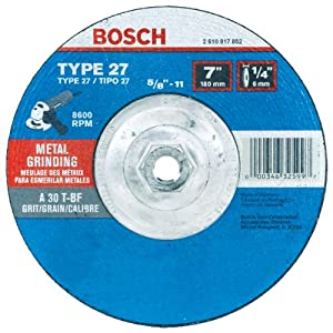 Bosch GW27M701 Type 27 Metal Grinding Wheel, 7-Inch 1/4 by 5/8-11-Inch Arbor (Pack of 1)