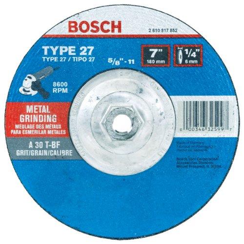 Bosch GW27M701 Type 27 Metal Grinding Wheel, 7-Inch 1/4 by 5/8-11-Inch Arbor (Pack of - Bosch Grinding Wheel