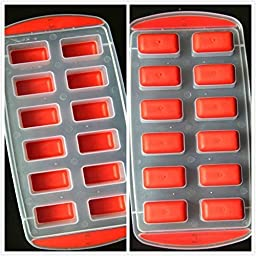 SET OF 3 Easy push Pop Out Ice Cube Trays with flexible silicone bottom (Ships From USA) (Square) by BargainRollBack