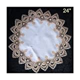 Round Gold European Lace Doily with Antique Fabric, Size 24 inches