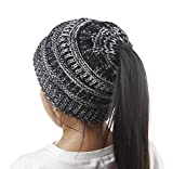 Singleluci Fashion Girls Warm Winter Hats Knitted Wool Hemming Ponytail Cap (Multicolor)