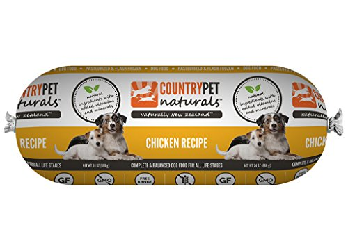 CountryPet Naturals Pasteurized Frozen Dog Food, Chicken Recipe (24 lbs Total, 16 Rolls each 1.5 lbs) - Natural Ingredients with Added Vitamins & Minerals - Made in New Zealand by CountryPet Naturals