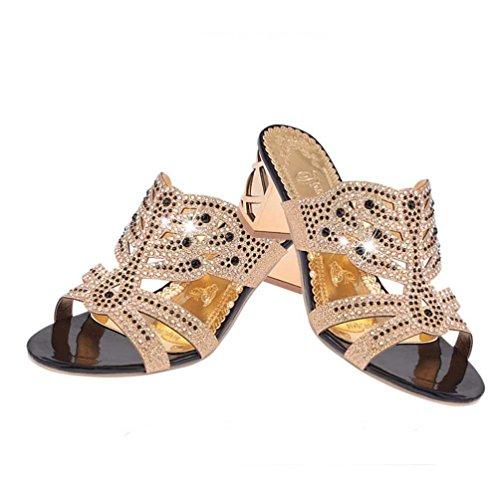 Fheaven Mujeres Summer Sandals Rhinestone Slippers Mujeres Wedge Open Toe Zapatos Antideslizantes Bohemia Tacones Negro