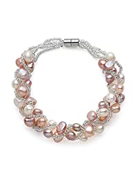 Multi Colour Freshwater Cultured Weaved Pearl Bracelet, Magnetic Clasp