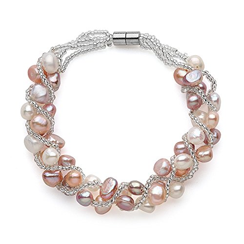 Bracelet Multi Pearl Color Cultured - Sugoi Pearls Multi Colour Freshwater Cultured Weaved Pearl Bracelet, Magnetic Clasp