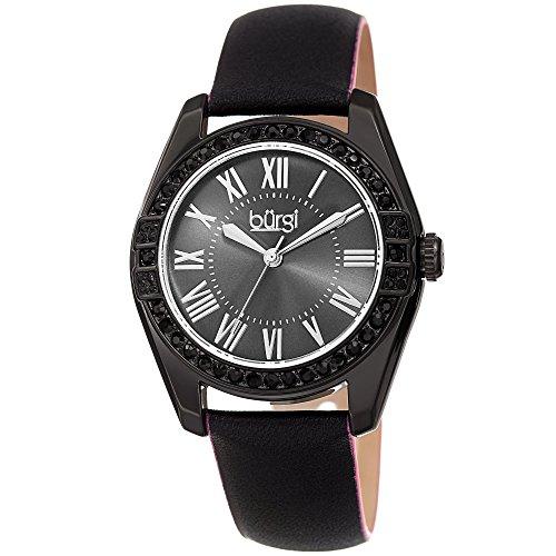 (Burgi Women's Watch - Swarovski Crystal Studded Bezel - Skinny Leather Black Strap Colored Edges - Classic Roman Numerals On Sunray Dial - BUR206BK)