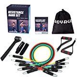 Royago Resistance Bands Set Workout Bands 150LBS 11 PCS with Exercise Tube Bands,Door Anchor,Legs Ankle Straps,Waterproof Carry Bag and Exercise Guide Booklet-for Resistance Training,Physical Therapy