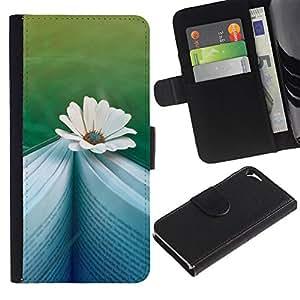 For Apple iPhone 5 / iPhone 5S,S-type® Daisy Book Reading Teal Memory Novel - Dibujo PU billetera de cuero Funda Case Caso de la piel de la bolsa protectora