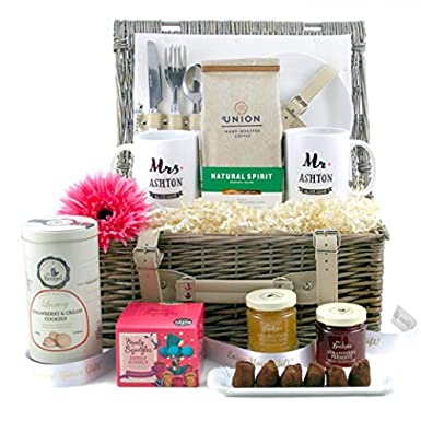 personalised wedding gifts union wedding hamper with personalised mr and mrs mugs ideal wedding