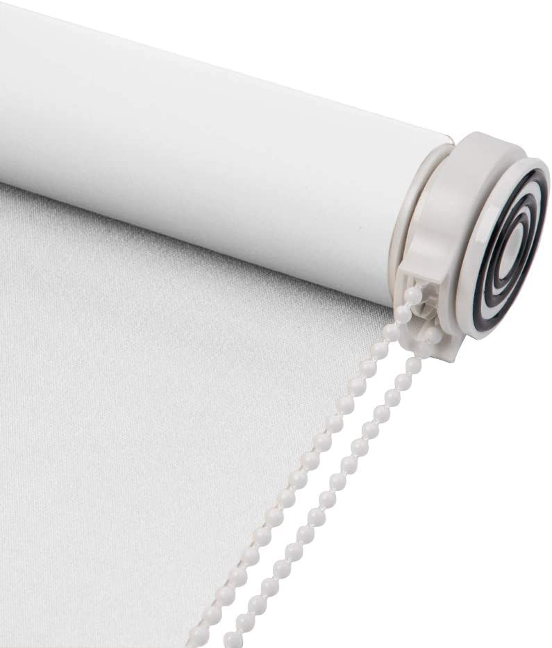 Skansen Tension Roller Blinds Blackout Fabric Custom Made Any Size from 20-90 inch Wide UV Protection Energy Saving Block 100% Light Window Shades for Home, Hotel, Club, Restaurant (White)
