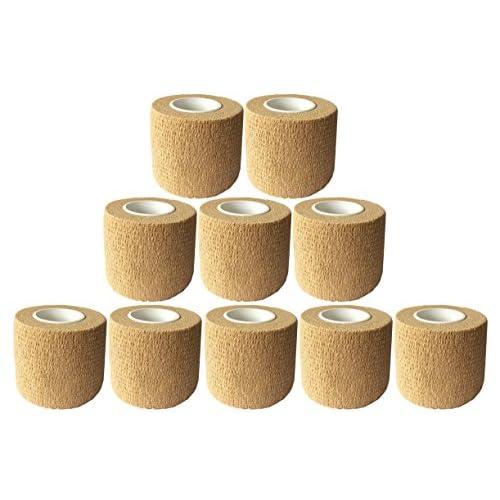 10pcs Self adhérente Wrap Bande Bande 5cm x 4.5m Elastique auto-adhésifs et bâton Bandage Flexible Sportif Médical Vétérinaire pour Animaux Chien Blessures Athlètes