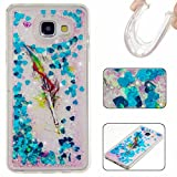 KSHOP Samsung Galaxy S6 Case, Glitter Liquid TPU Case Cover for ,Crystal Clear with Flowing Liquid Floating Luxury Bling Glitter Sparkle Love Heart Star Scratch-Resistant Ultra Slim Thin Flexible Soft Silicone TPU Bumper Rubber Protective Case CoverGeneration -Blue feather