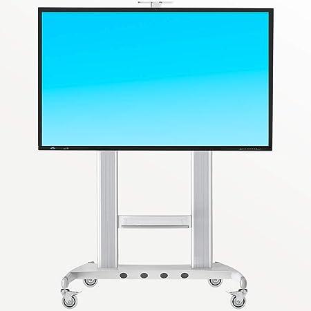 ZYH-Shelf Soporte De TV, Carro De TV Móvil Soportes De TV De Piso Ajustables para Pantallas De TV OLED LCD LED De 60-100 Pulgadas Soporte De TV para El Hogar con Ruedas,Blanco:
