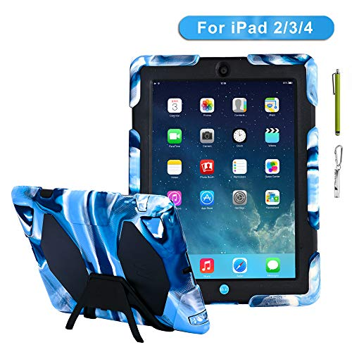 iPad 4 Case iPad 3 Case iPad 2 Case for Kids Full Body Heavy Duty Shockproof Cover Case with Removable Kickstand & Built in Screen Protector for Apple iPad 2nd /3rd/4th Generation (Navy Black)