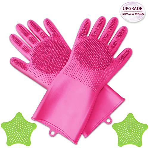 Design New Silicone ([Upgrade] Silicone Scrubbing Gloves, Dishwashing Cleaning Gloves with 2PCS Sink Strainers 2 in 1 Magic SakSak Reusable Gloves for Kitchen,Car,Bathroom and More—2019 New Design)