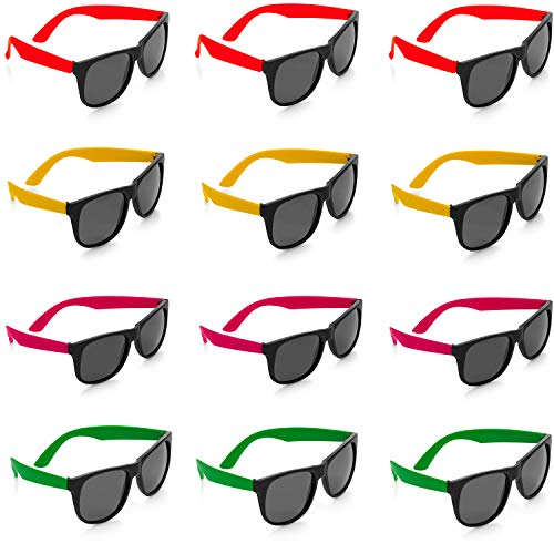 Kidsco Neon Sunglasses - 12 Pack Green, Orange, Yellow and Pink, Gift, Party Favors, Toys, Goody Bag Favors, Fun for Kids -
