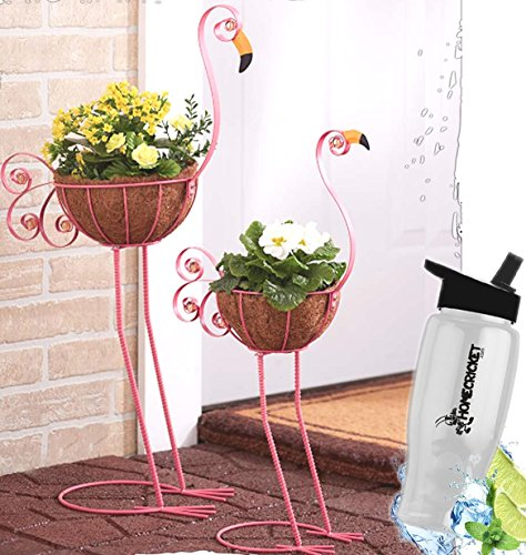 (Gift Included- Decorative 2 Metal Flamingo Outdoor Garden Bird Planter Coconut Fiber Basket Holder + FREE Bonus Water Bottle by Home Cricket Homecricket)
