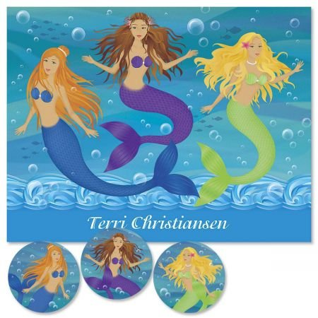 Colorful Images Mermaids Custom Note Cards - Set of 12 4-1/4'' x 5-1/2'' blank inside cards come with white envelopes