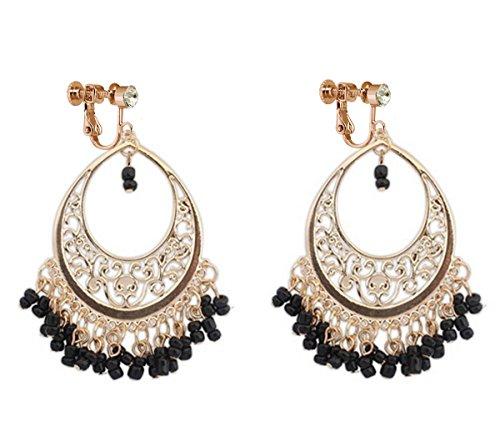 (Bohemia Dangle Clip on Earring Tassel Boho Chandelier Drop Hoop Earrings Women Ladies Gold Black Beads)