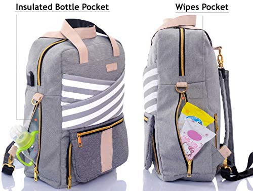 3396abee7706 Baby Diaper Bag Backpack - Stylish Travel Nappy Backpack - for Mom Women - Baby  Toddler