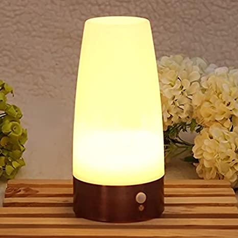 Soulitem Lámpara de Mesa LED con Sensor de Movimiento PIR Sensor de Movimiento con batería Sensor de luz Nocturna: Amazon.es: Hogar