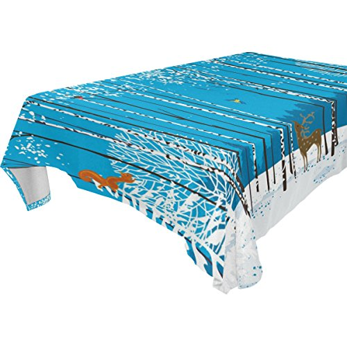WOZO Rectangular Merry Christmas Deer Fox Brich Tree Tablecloth Table Cloth Cover for Home Decor Dinner Kitchen Party Picnic Wedding Halloween Christmas 60x60 inch (Brich Tree)