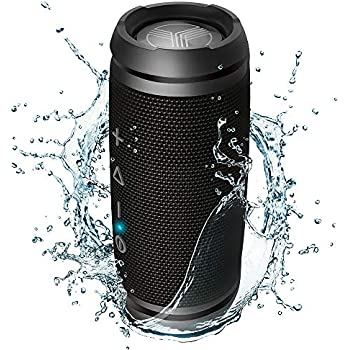 Home Built-in Microphone 007 Black SilverOnyx Bluetooth Speakers Portable Wireless Waterproof Speaker Loud Crystal Clear HD Stereo Sound Rich Bass Subwoofer IPX-6 for Shower Travel