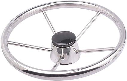 Great Sale 13-1//2/'/' Inch 9 Spoke Stainless Steel Marine Boat Steering Wheel 15°