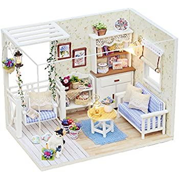 Cuteroom Dollhouse Miniature DIY Kit With Cover Wood Toy Doll House Room Kitten Diary