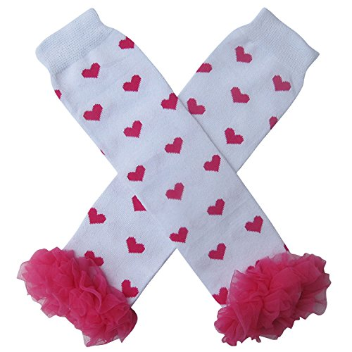 Chiffon Ruffle Tutu Valentine's Day Heart Style Leg Warmers, Baby, Toddler, Girl (Chiffon White with Hot Pink Hearts) -
