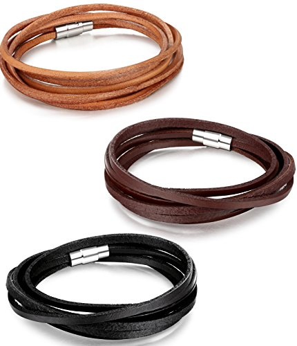 Besteel Leather Bracelet Wristband Magnetic