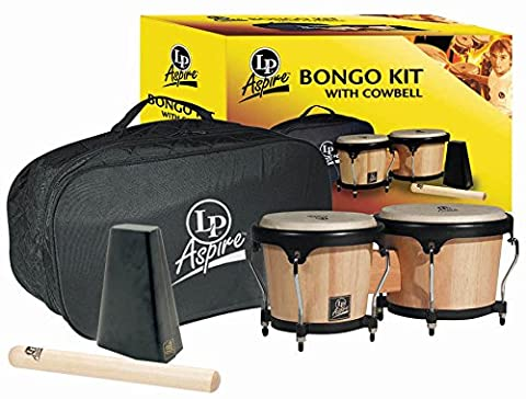 LP Aspire Wood Bongo Set w/ Cowbell & Carry Bag (Lp Aspire Bongo Head)