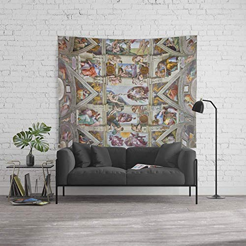 """wenhuamucai Wall Tapestry, Size Large: 60"""" x 51, Michelangelo Sistine Chapel Ceiling, Decor for Living Room Bedroom Dorm"""