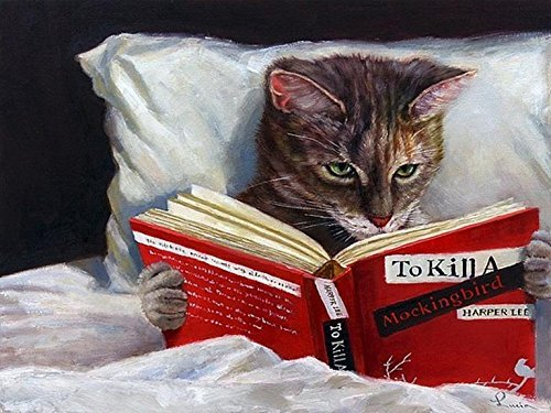 Buyartforless Late Night Thriller - Cat Reading to Kill a Mockingbird by Lucia Heffernan 10x8 Feline Art Print Poster Humor (Cat Reading)
